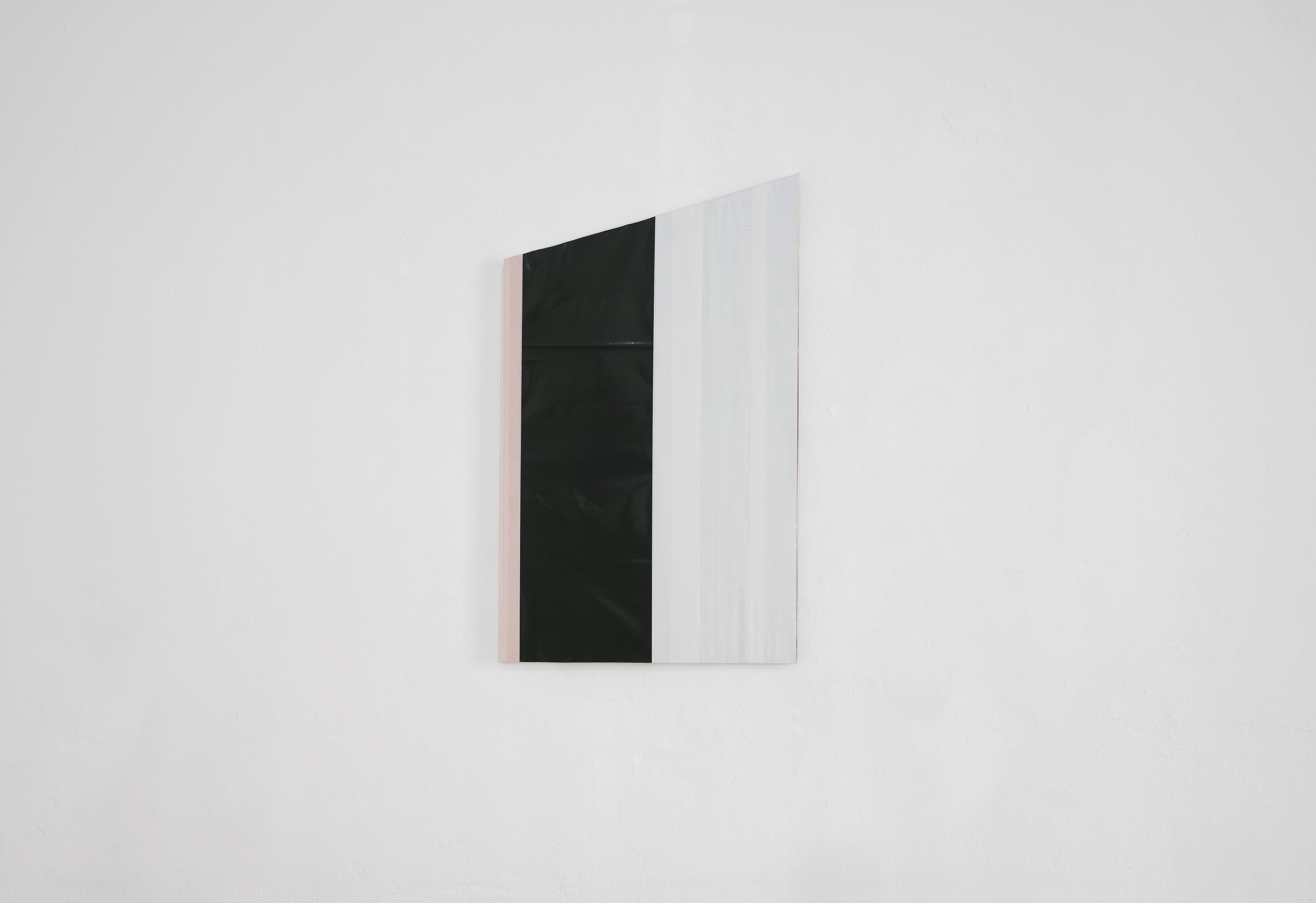 Diversions Series, 2018, Construction tape and plastics on plywood, 31×52cm