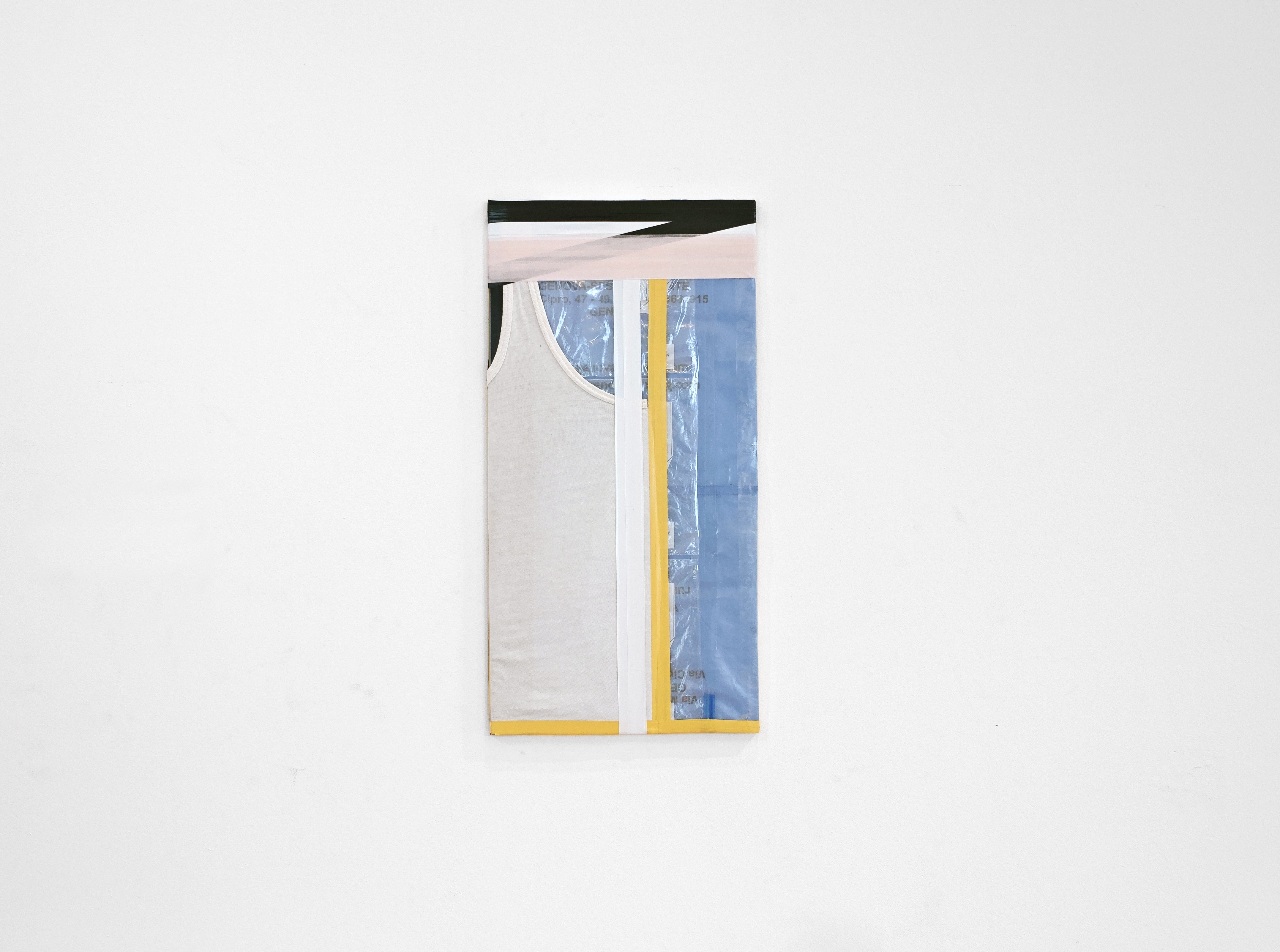 Diversions Series, 2018, Tank top, tape and plastics on plywood, 30×63cm