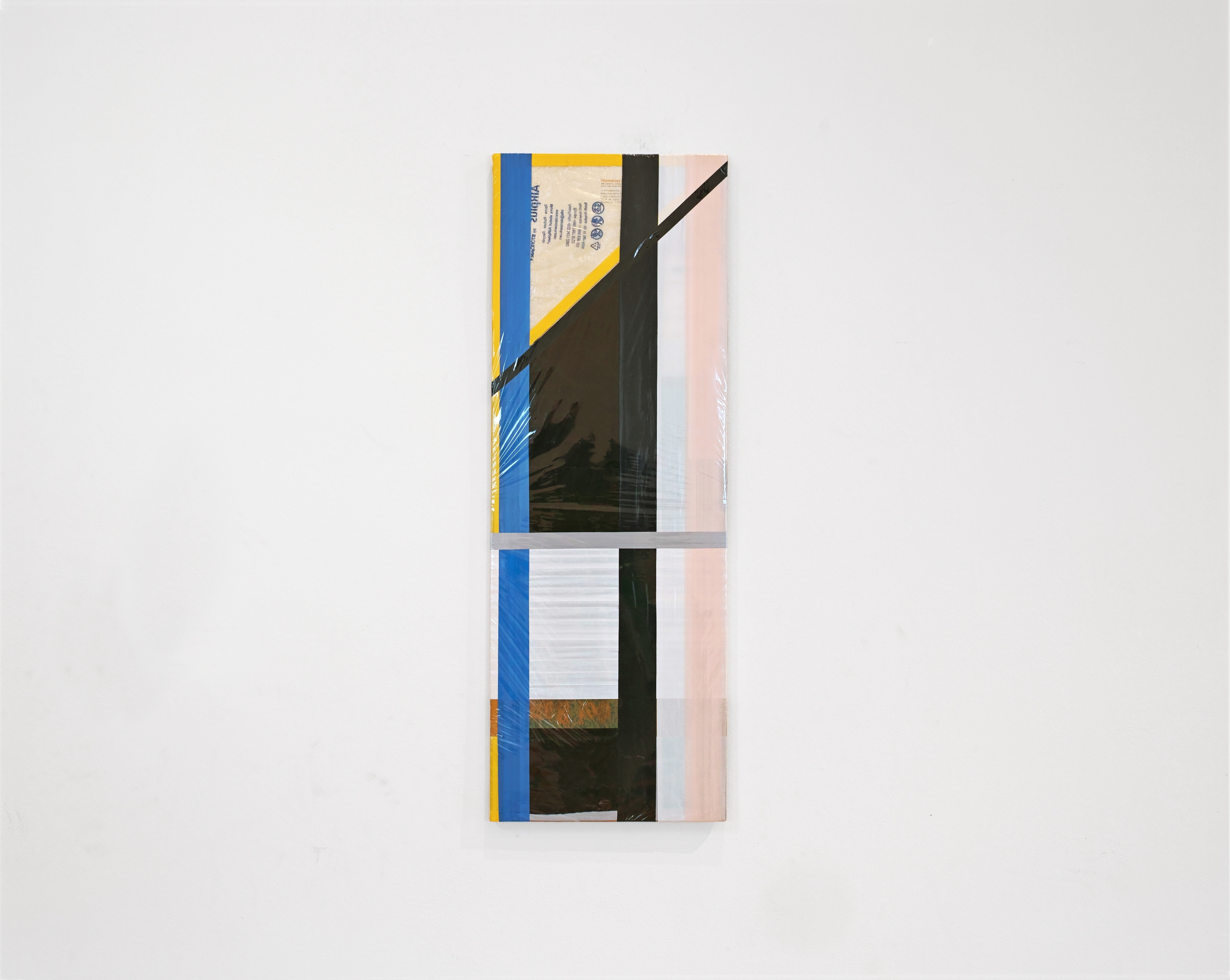 Diversions Series, 2018, Packaging wrap, foil, tape and plastics on plywood, 30×85cm